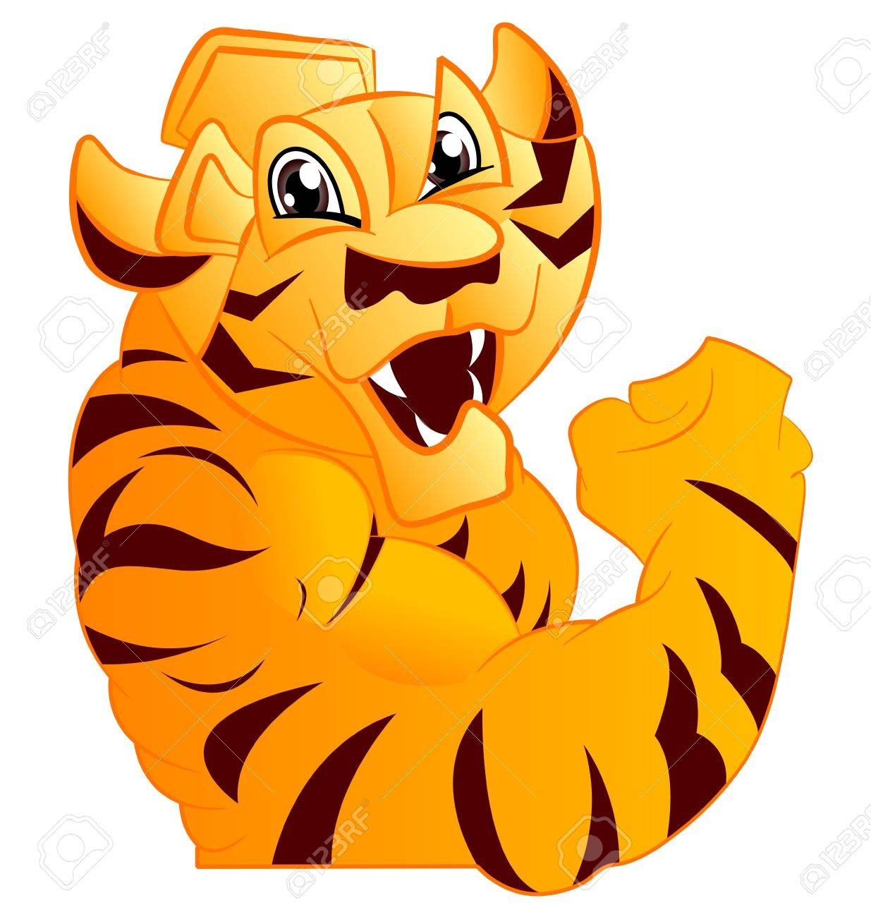 Tiger Mascot Body with Paws and Claws Stock Vector - 10853259