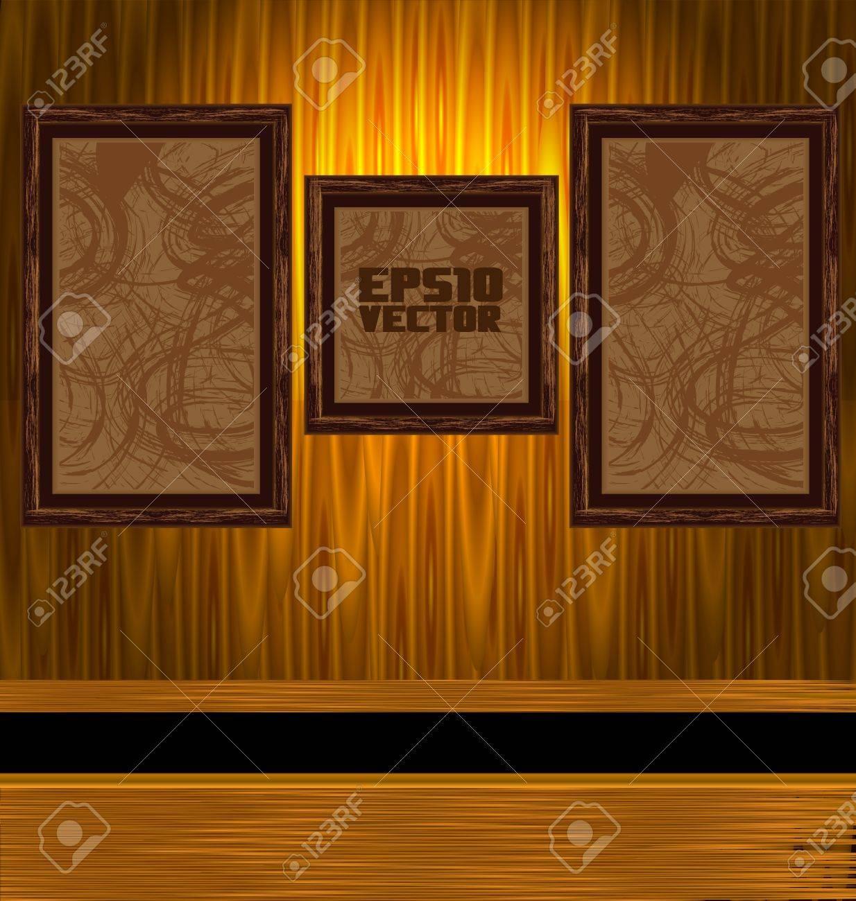 図 A 暗い汚い部屋壁にゴールド フレームのイラスト素材ベクタ