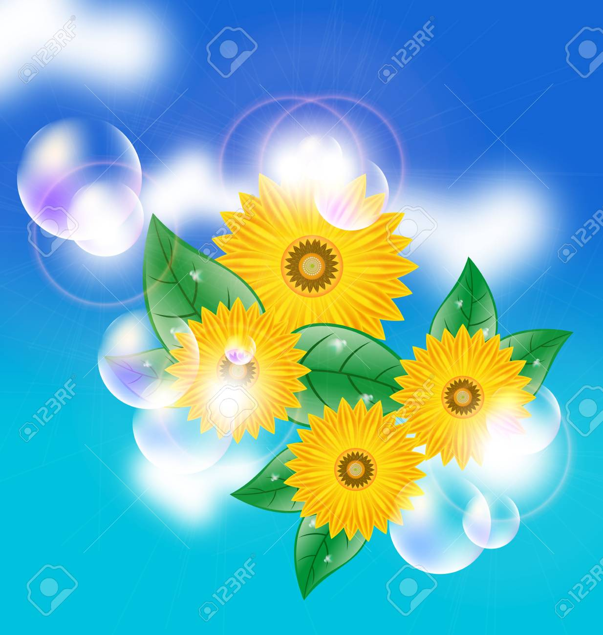 Background with a field of sunflowers and blue sky Stock Vector - 11513765