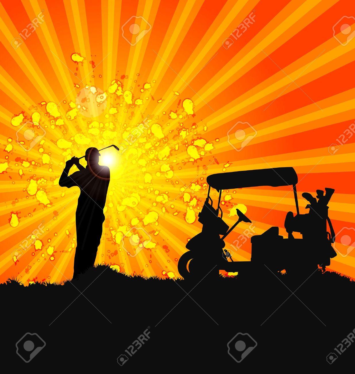 Vector Golfer Silhouettes design poster Stock Vector - 11513797