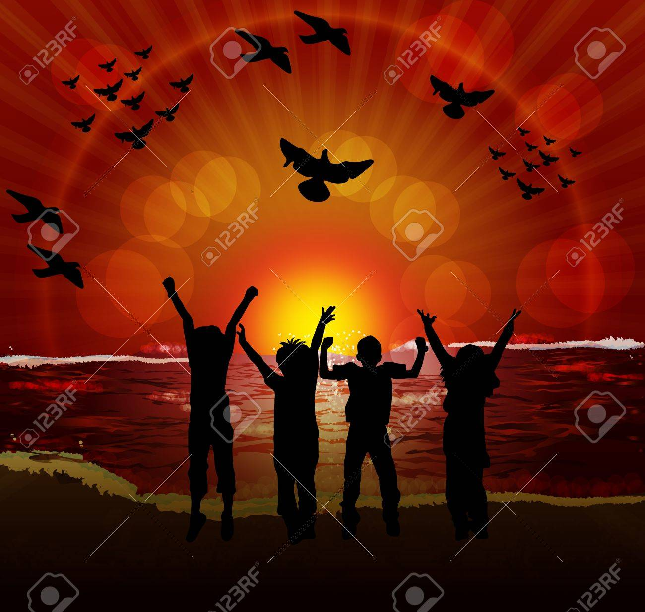 children silhouettes on sunset background Stock Vector - 11513788
