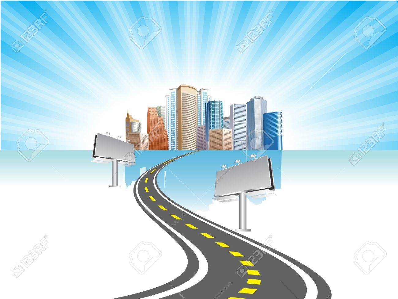 billboard with road and city background Stock Vector - 11575802