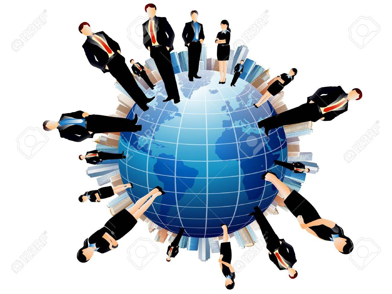 business people team with world map Stock Vector - 11575807