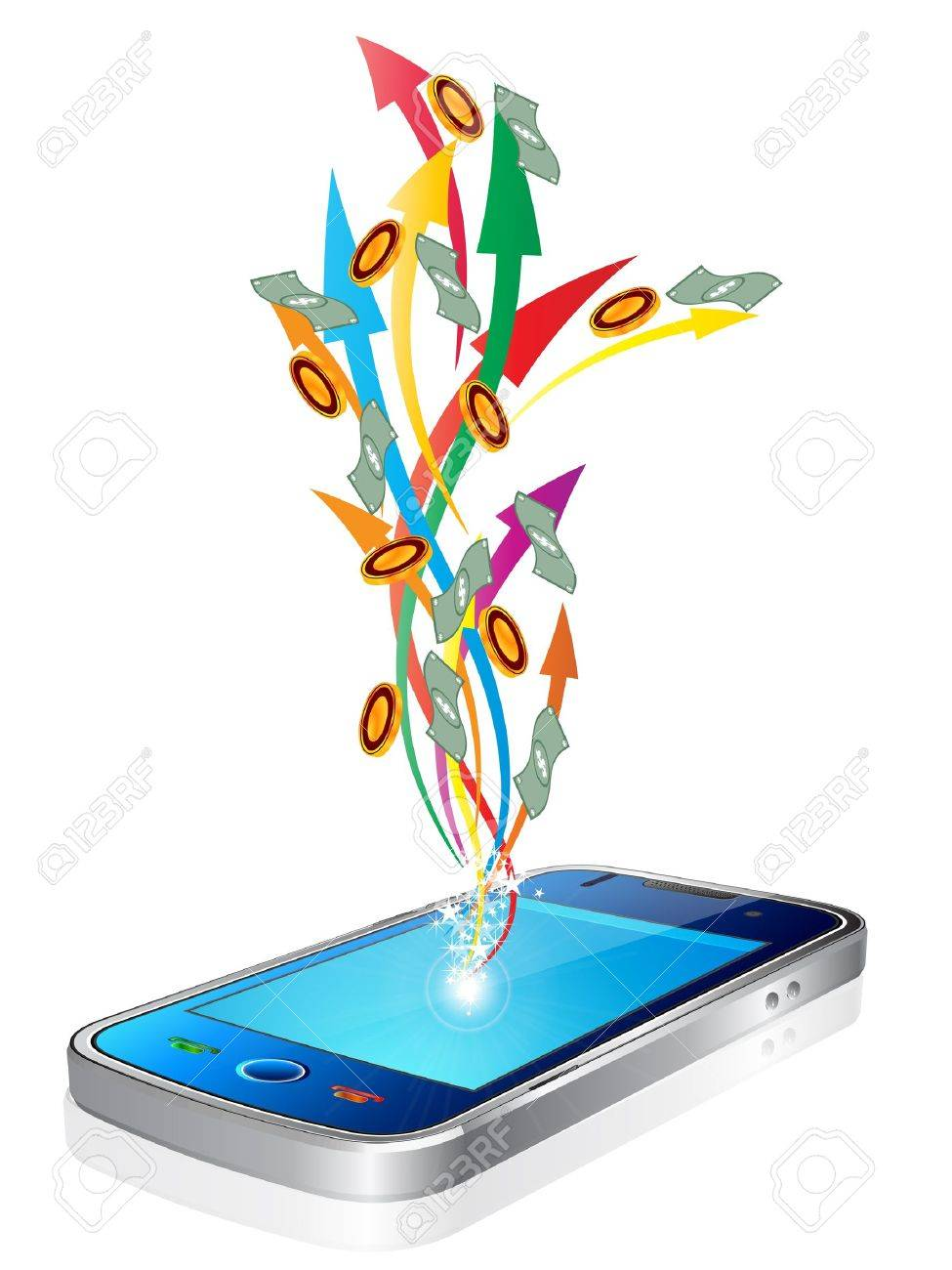 Money flying out of new style smart mobile phone - 11575803