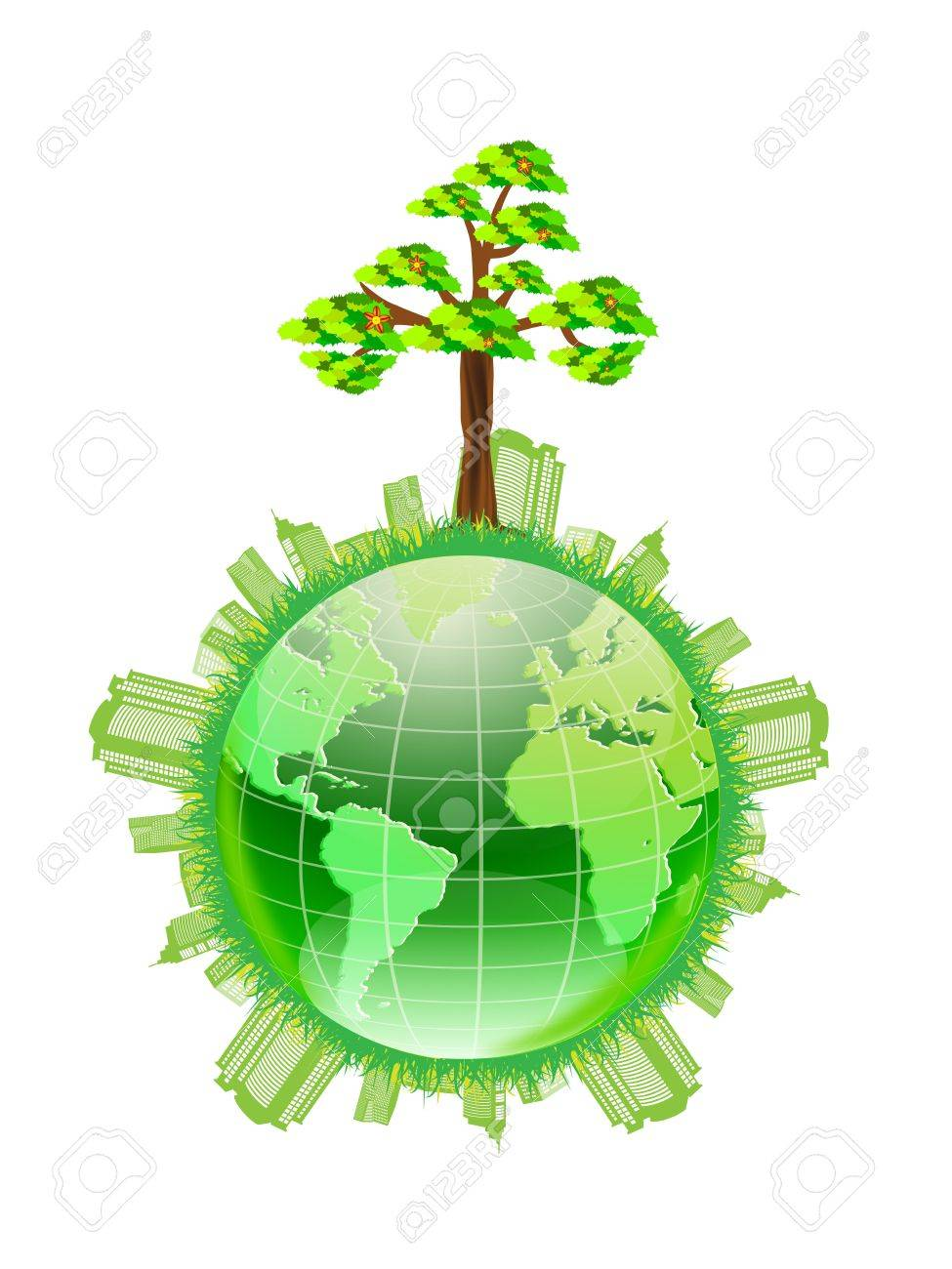 abstract green world illustration - ecology / wind turbines concept Stock Vector - 11909347