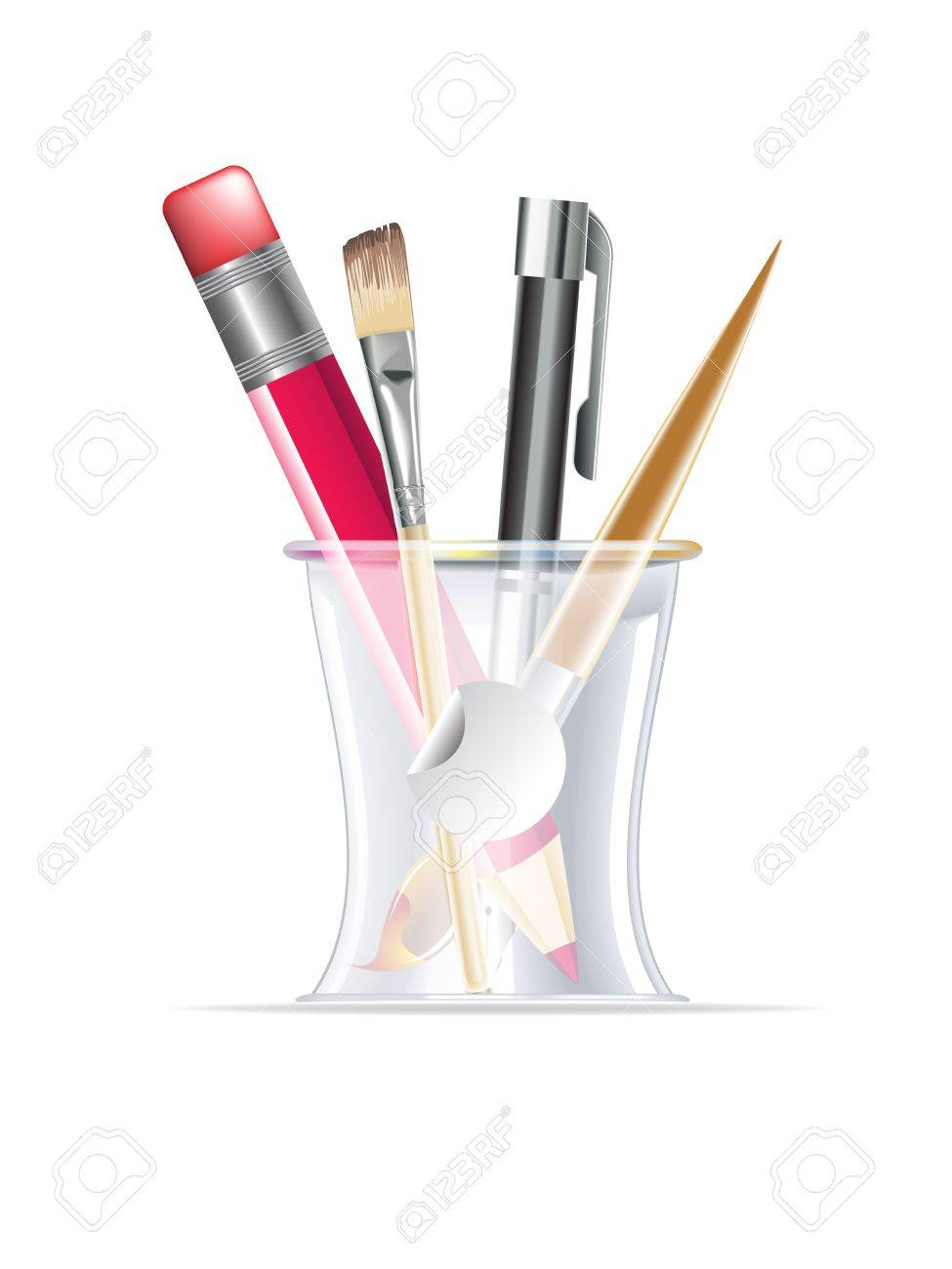 office drawing tools. Writing \u0026 Drawing Tools In A Desk Organizer For Office, Stock Vector - 12069350 Office O