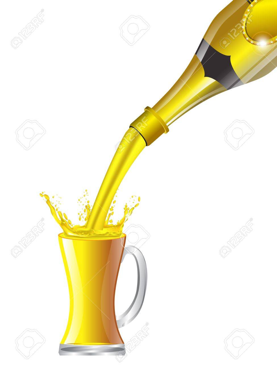 Beer pouring from bottle into glass on white background Stock Vector - 12803092