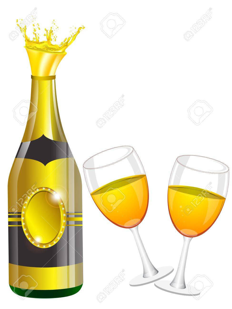 Champagne bottle, glasses, cork Stock Vector - 12803094