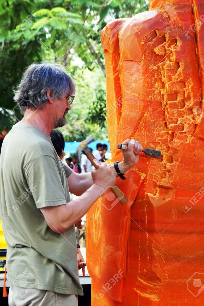 Ubon Ratchathani, Thailand - July 25, 2012 - The Artist of Ubon Wax Festival 2012