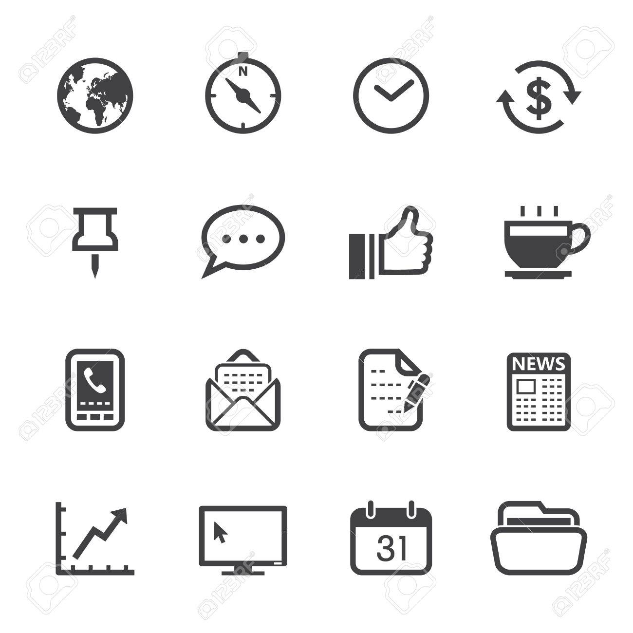 Business Icons and Office Icons with White Background Stock Vector - 20232844