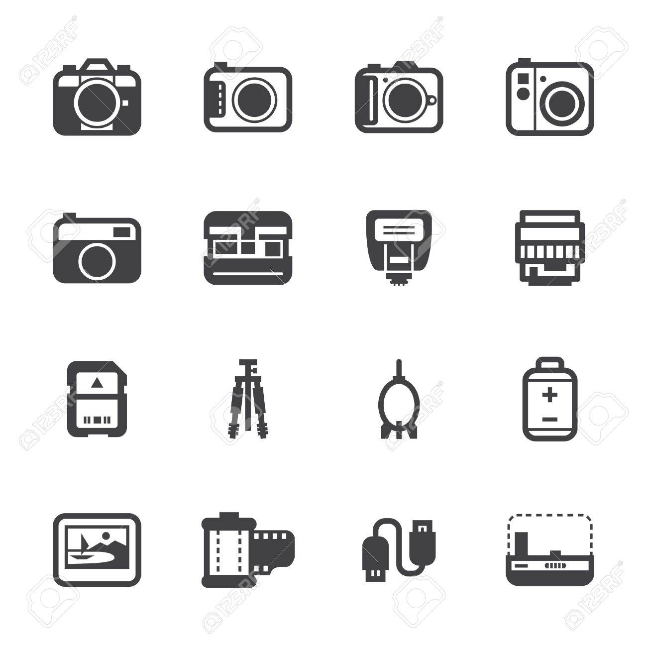 Camera Icons and Camera Accessories Icons with White Background Stock Vector - 20232742