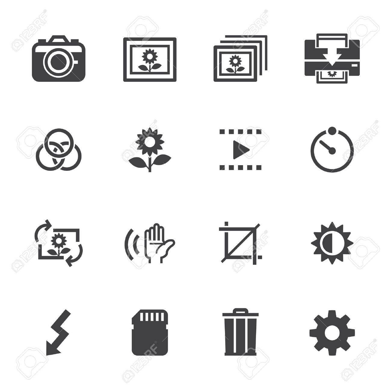 Fotografie Symbole Und Icons Kamera-Funktion Mit Weißem Hintergrund ...
