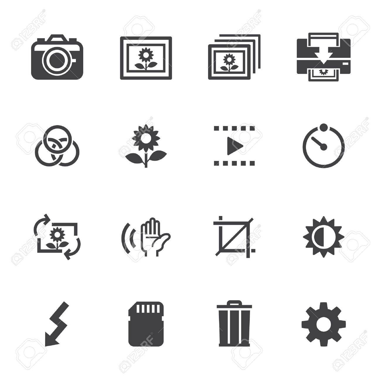 Photography icons and Camera Function Icons with White Background Stock Vector - 20232751