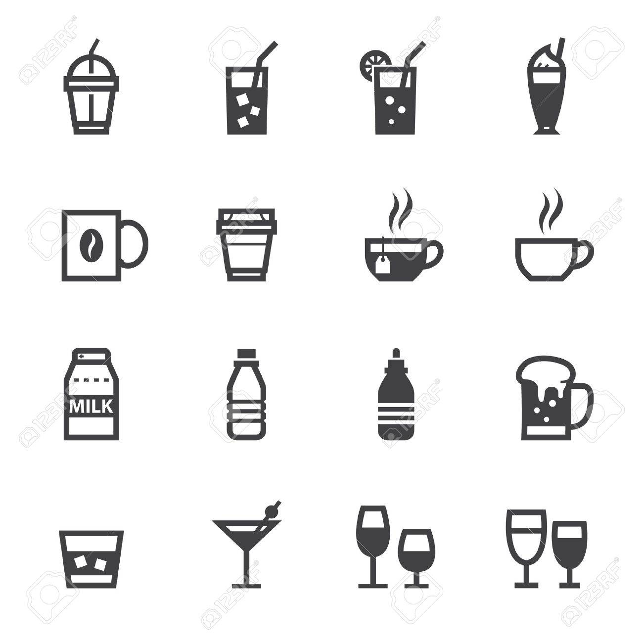 Drink icons and Beverages Icons with White Background Stock Vector - 20232759