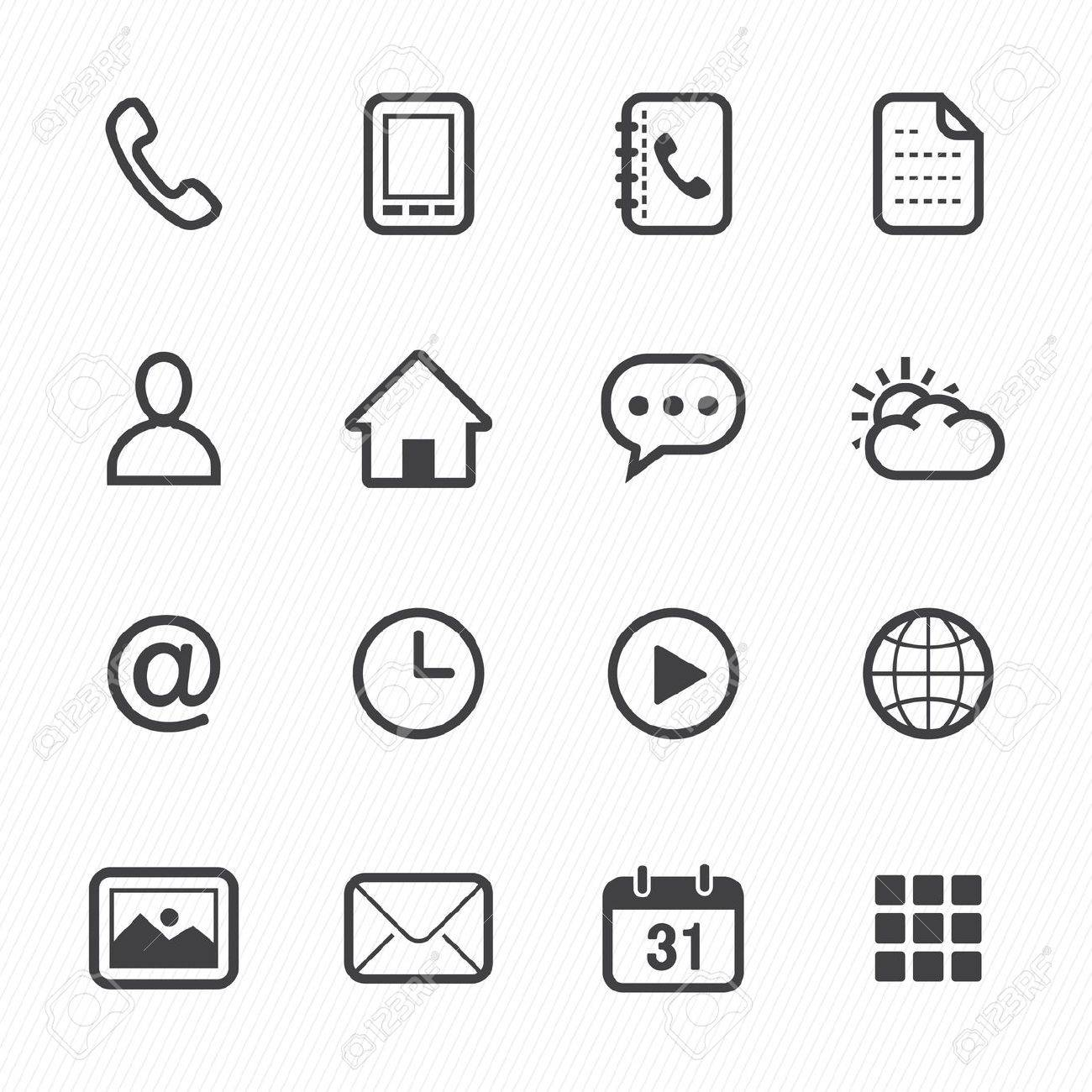 Mobile Phone Icons with White Background Stock Vector - 20232822