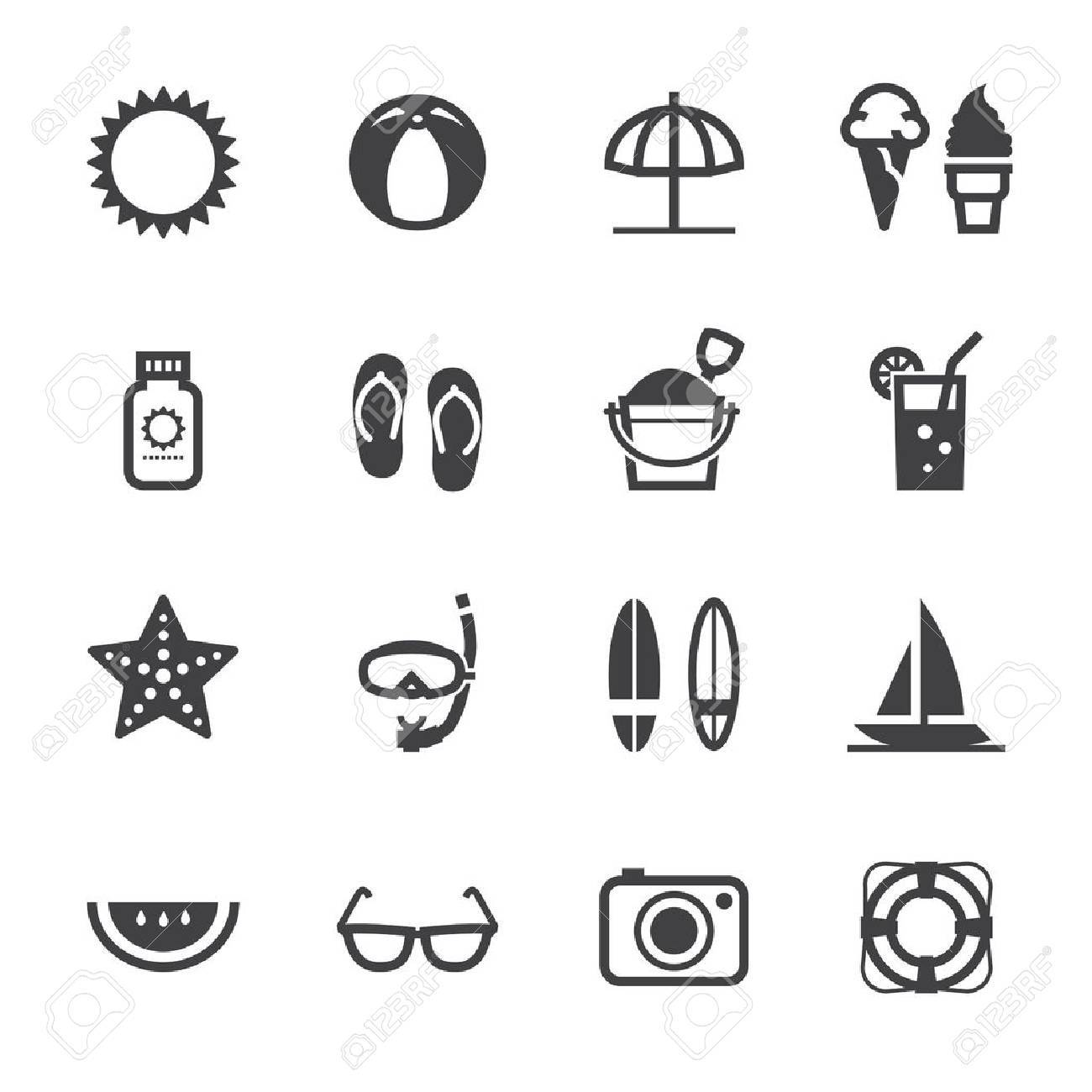 Summer Icons and Vacation Icons with White Background