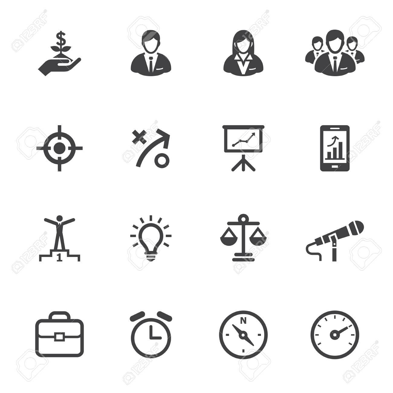 Business Icons and Finance Icons with White Background Stock Vector - 22521857