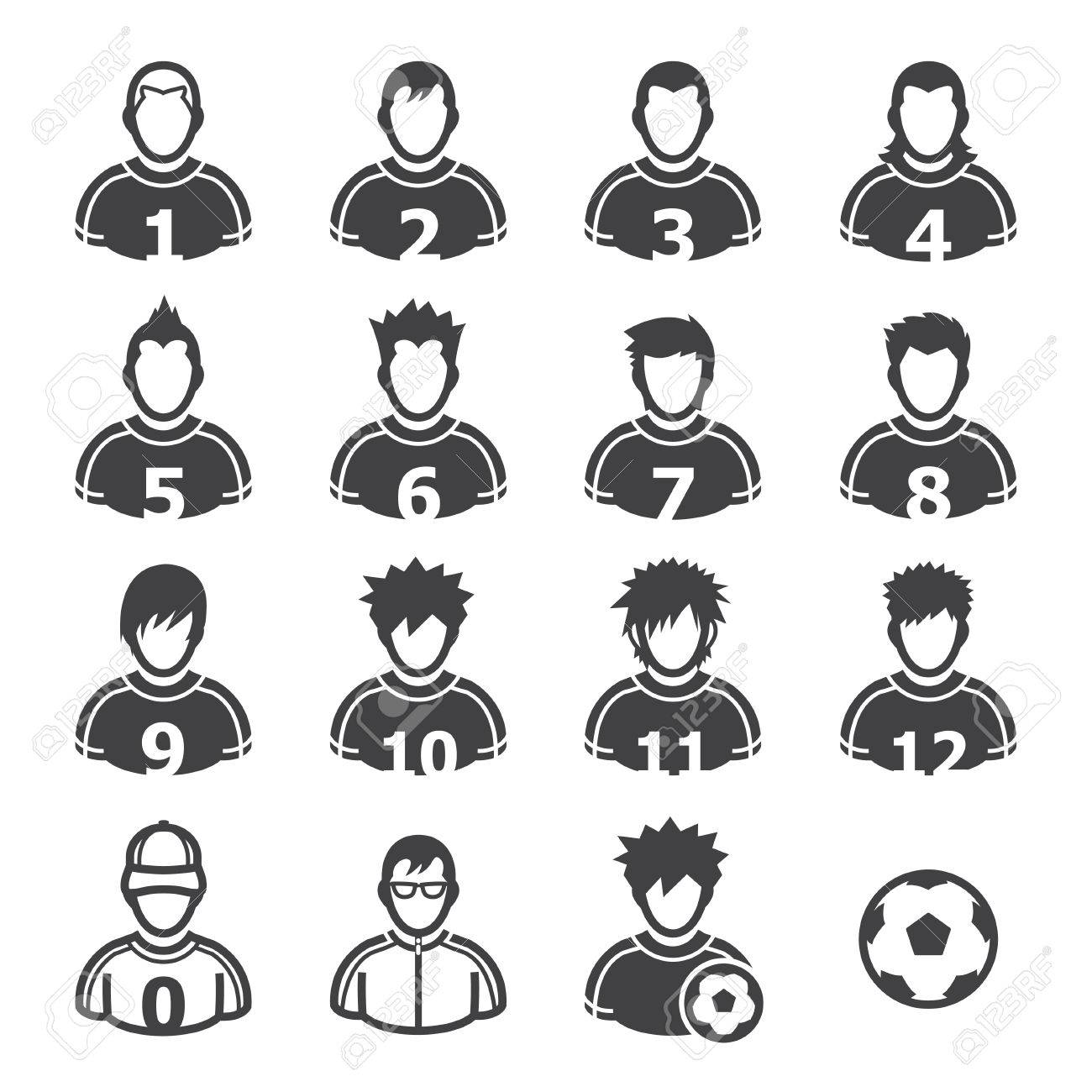 Soccer Player Icons with White Background - 22521874