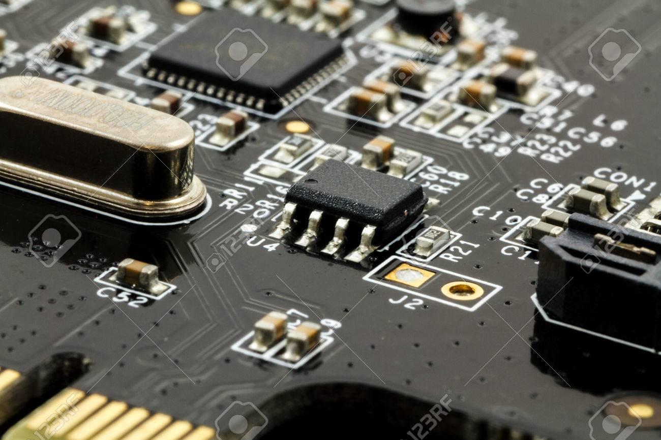 Printed Circuit Board (PCB) With, ICs, Capacitors, And Resistors ...