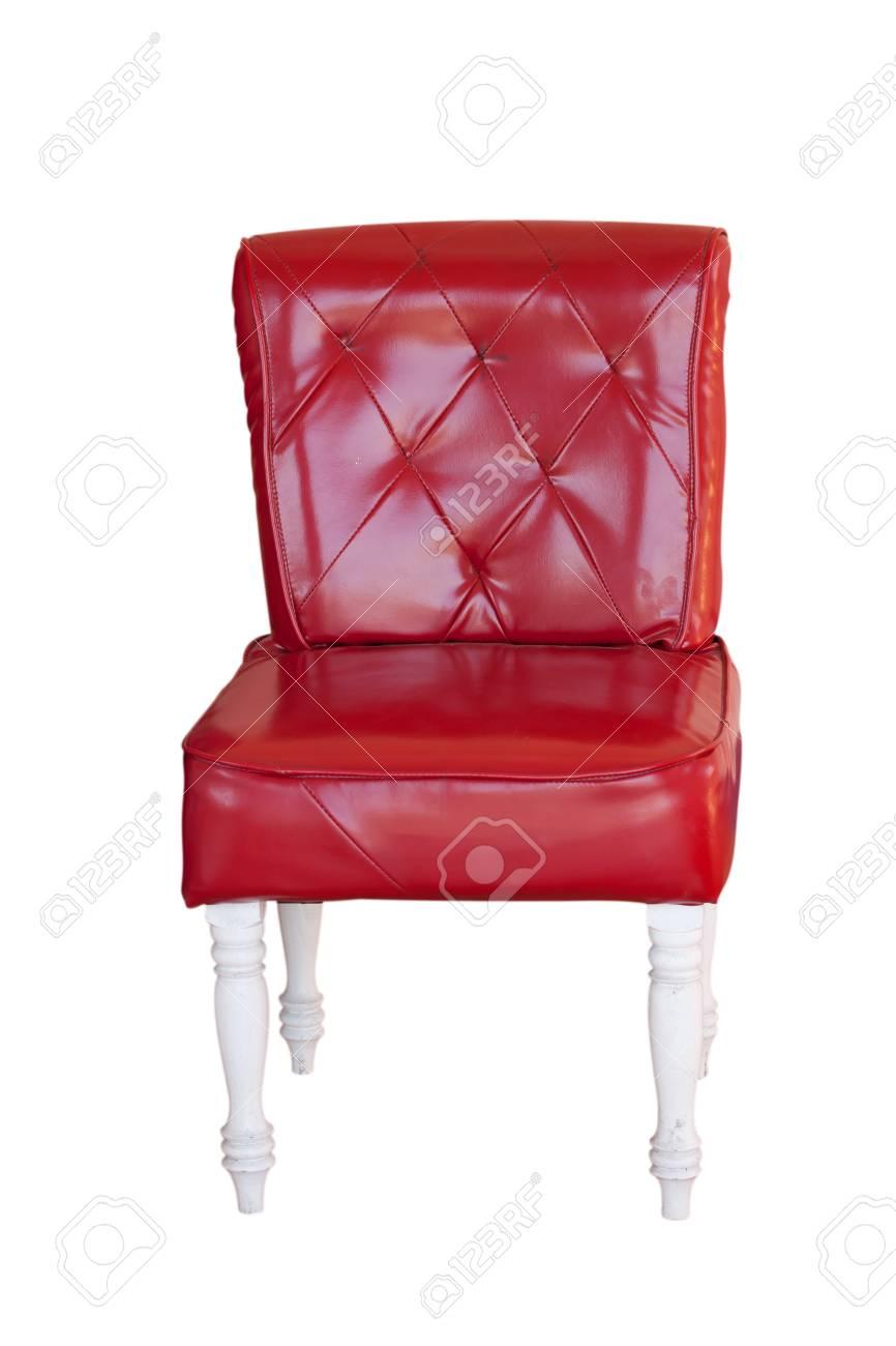 banque dimages chaise rouge en cuir vintage isol sur blanc - Chaise Cuir Vintage
