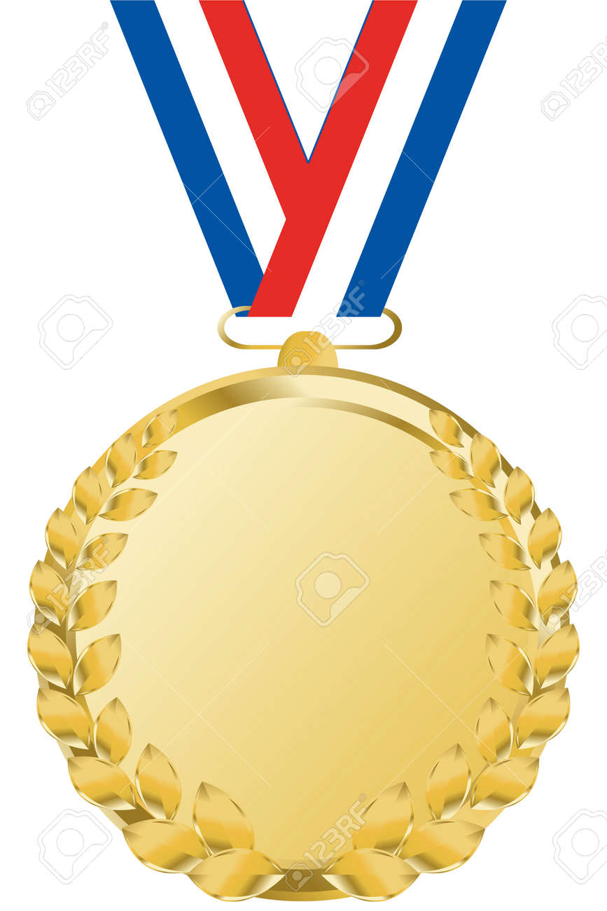 gold medal with tricolor ribbon - 3822290