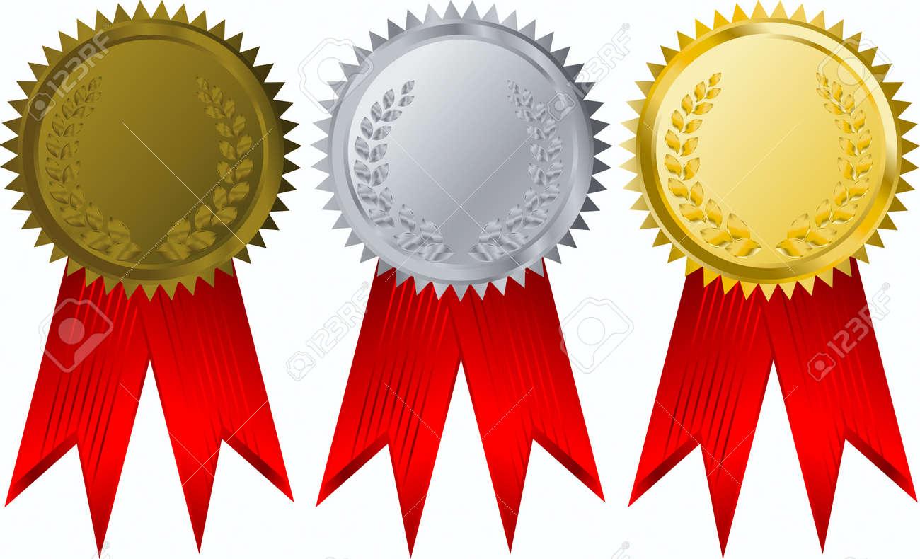 vector gold, silver and bronze award ribbons - 3822296