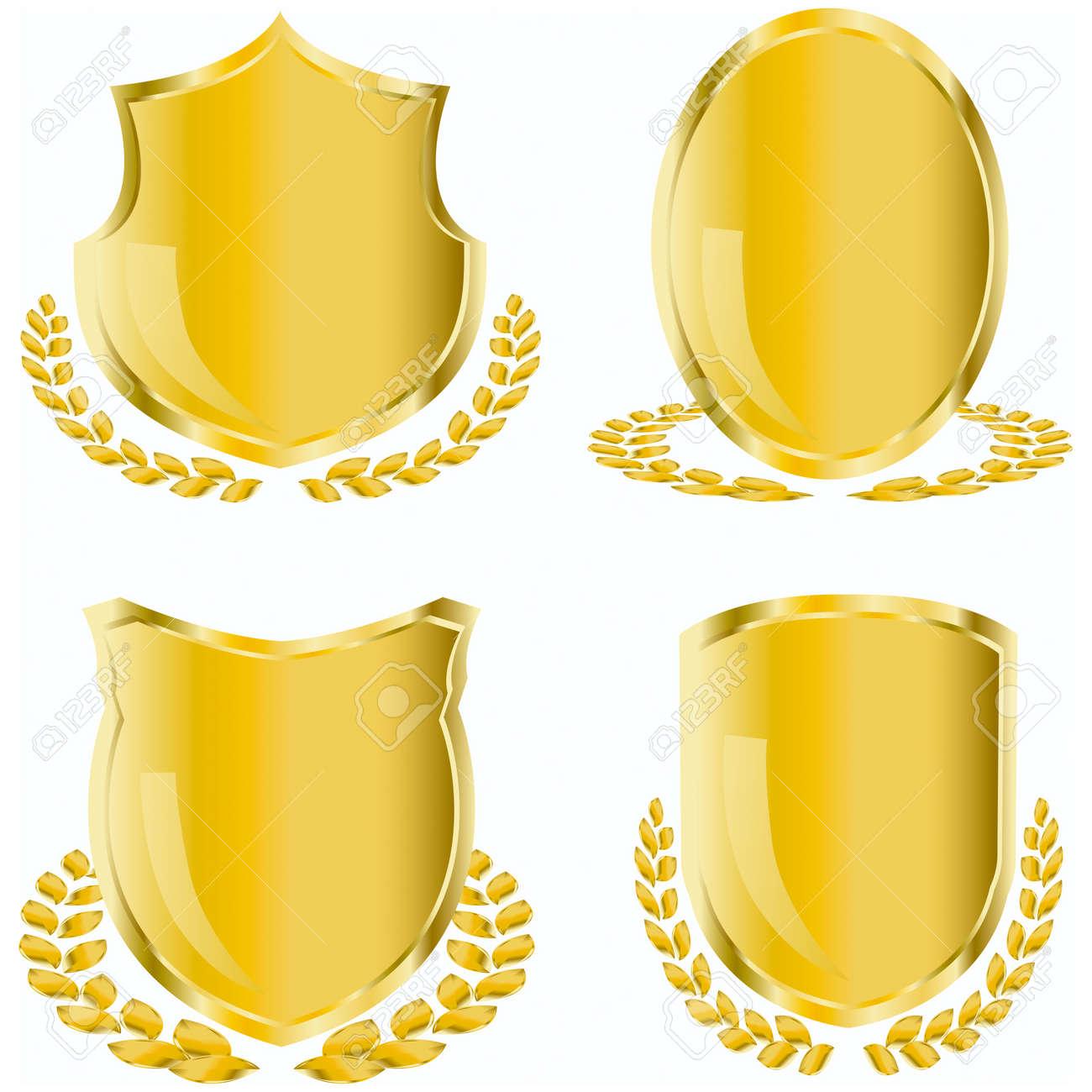 golden shield with laurel wreath - 3822299