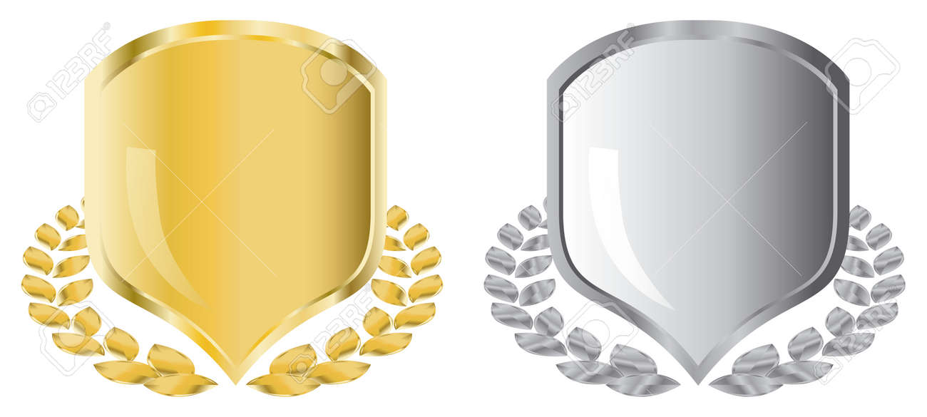 golden and silver shields with laurel wreath Stock Vector - 3842359