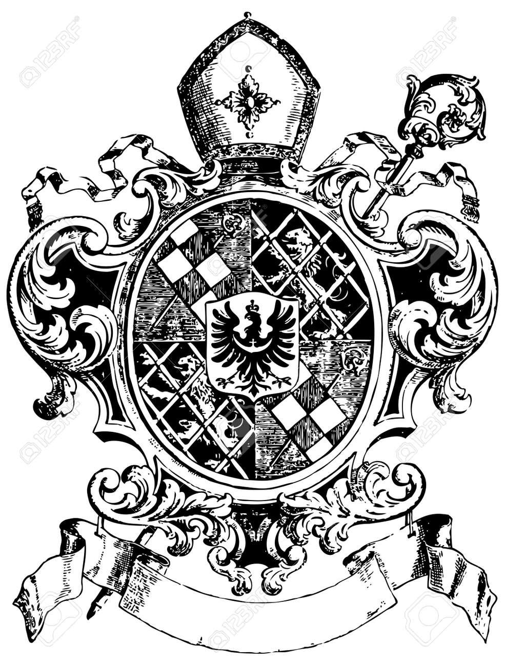 ornate heraldic shields - 3822298