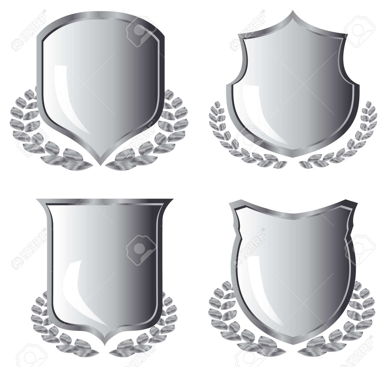silver shields with laurel wreath on white background - 3883903