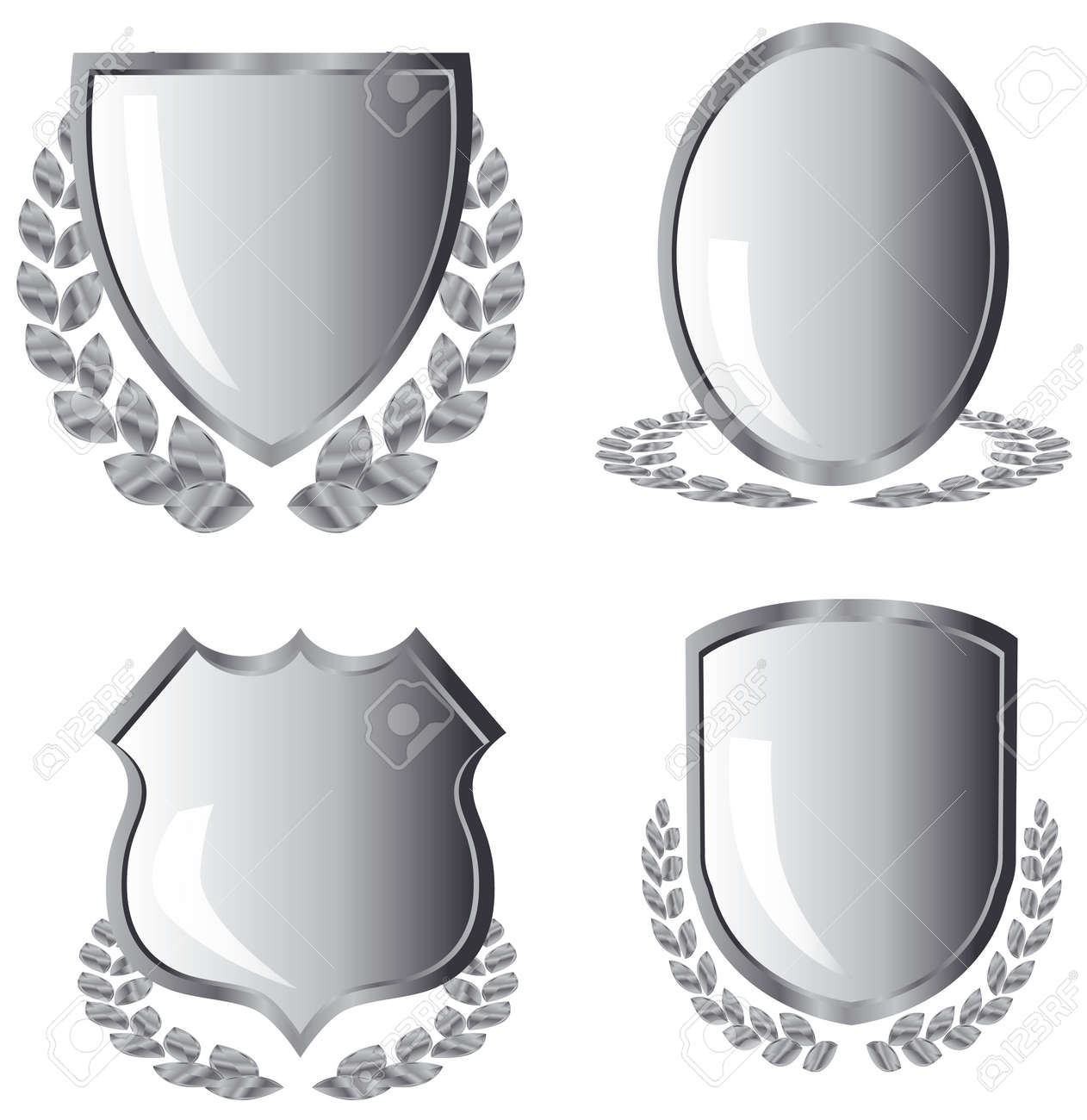 silver shields with laurel wreath on white background - 3883902