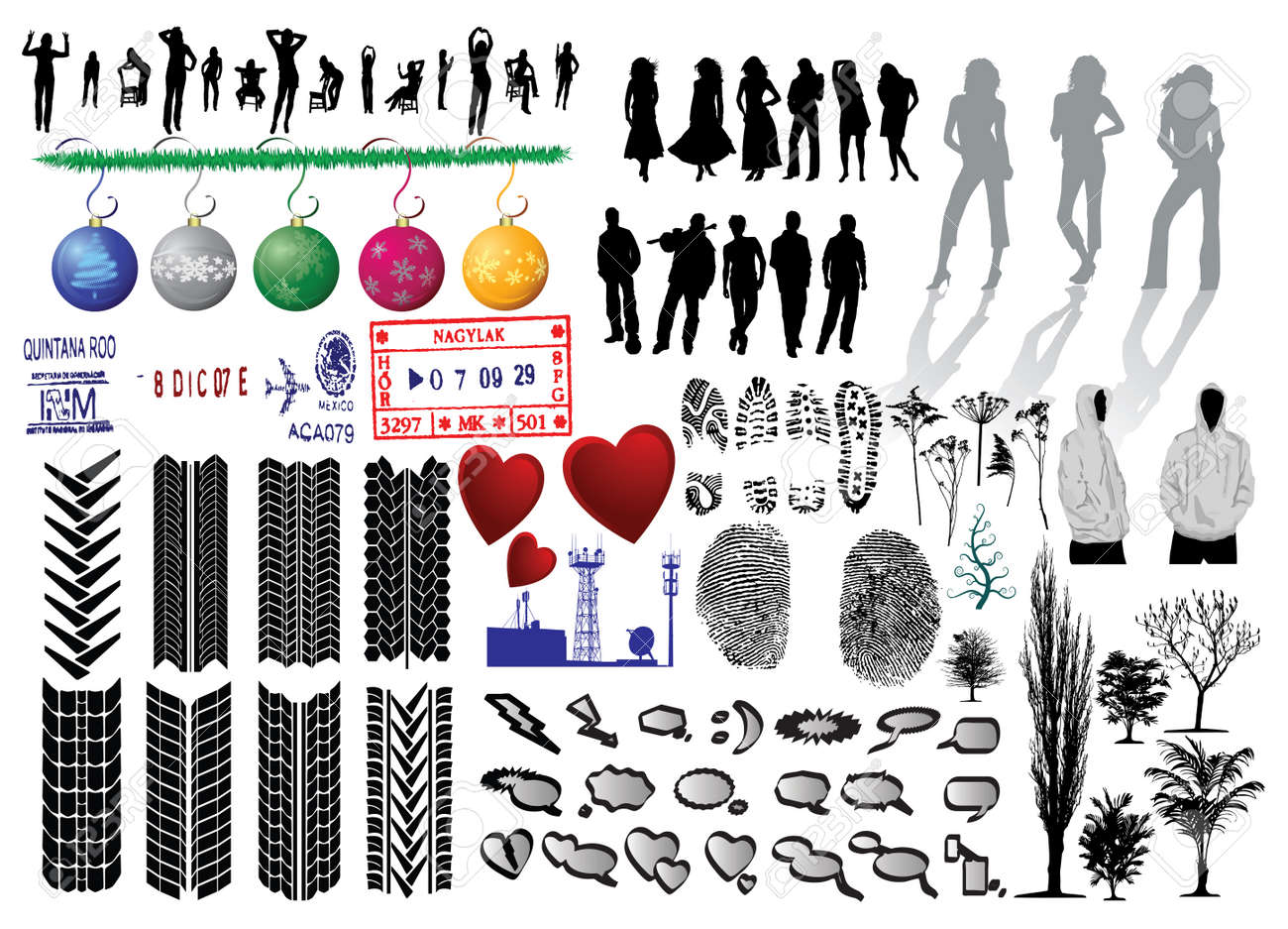 Silhouette of girls and collection of Vector Fingerprints, Footprints and more - 4011612