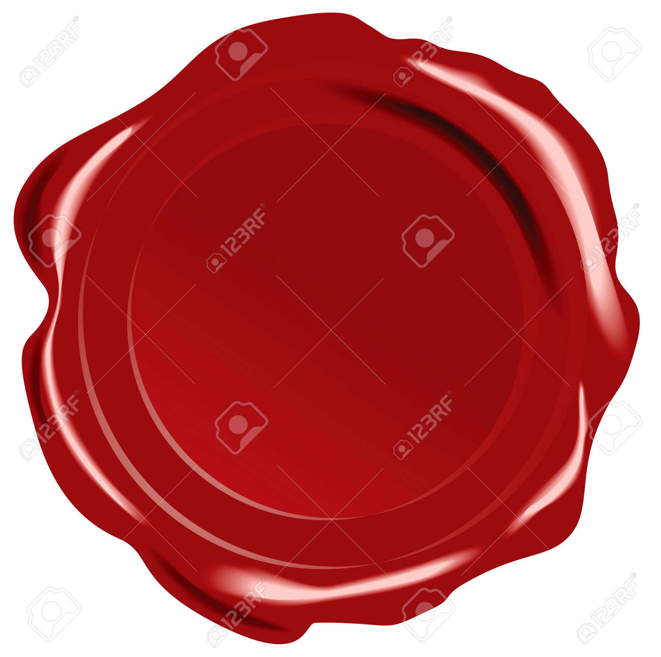 Red vector wax seal on white background - 4231042
