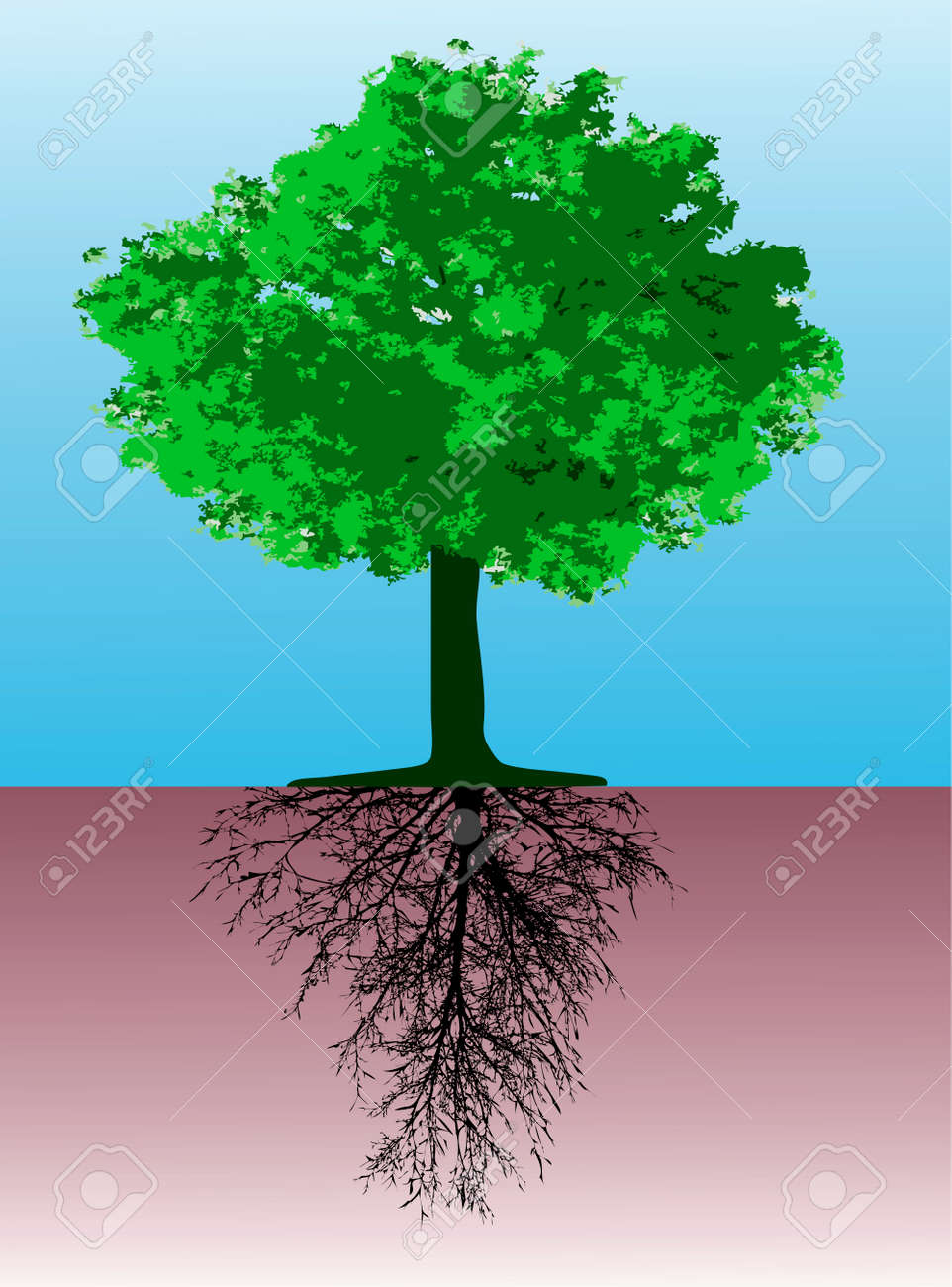 Tree with roots - This image is a vector illustration and can be scaled to any size without loss of resolution - 4231062