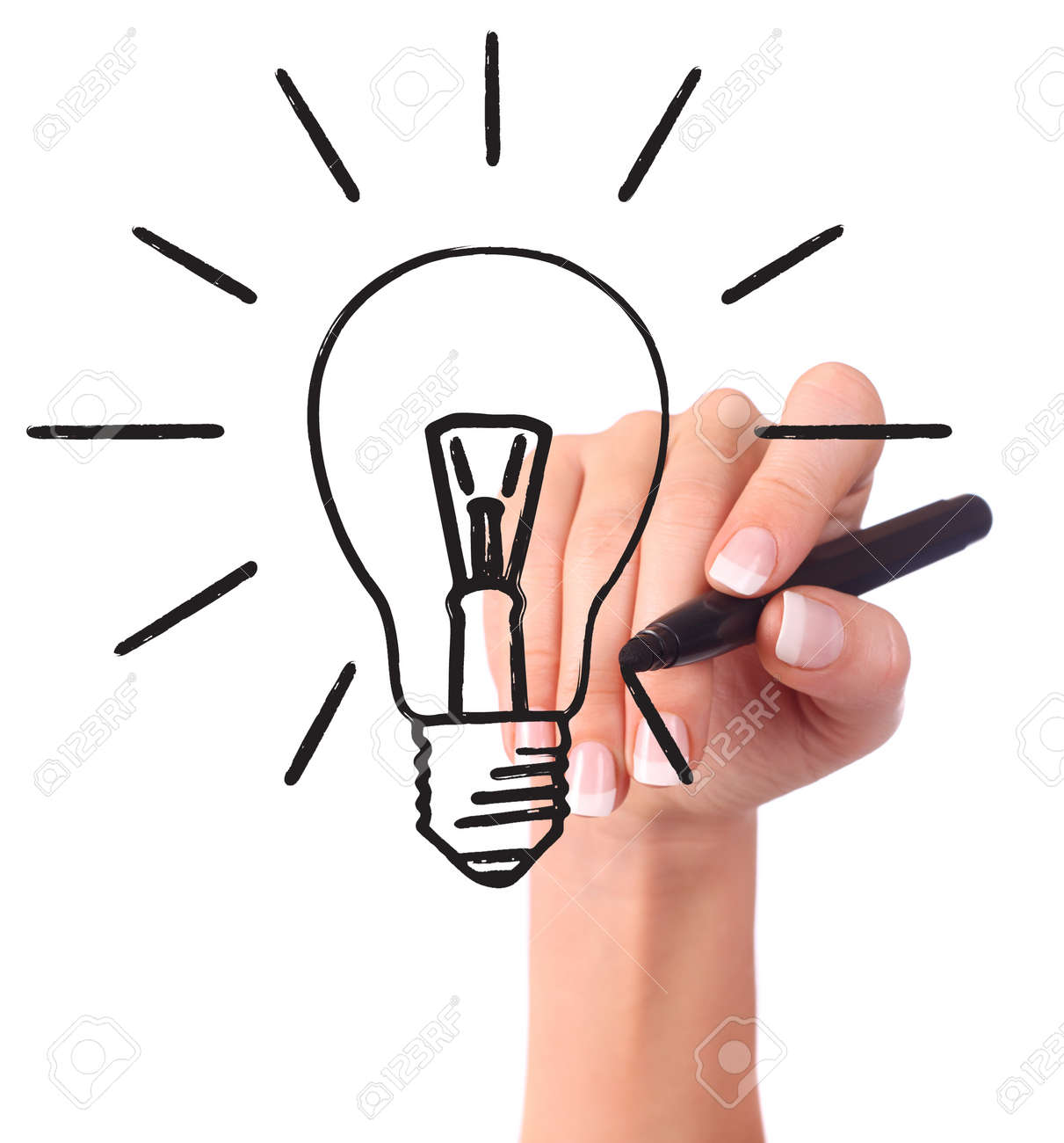 Hand drawing light bulb, isolated on white - Ecology/Business concept - 4333775