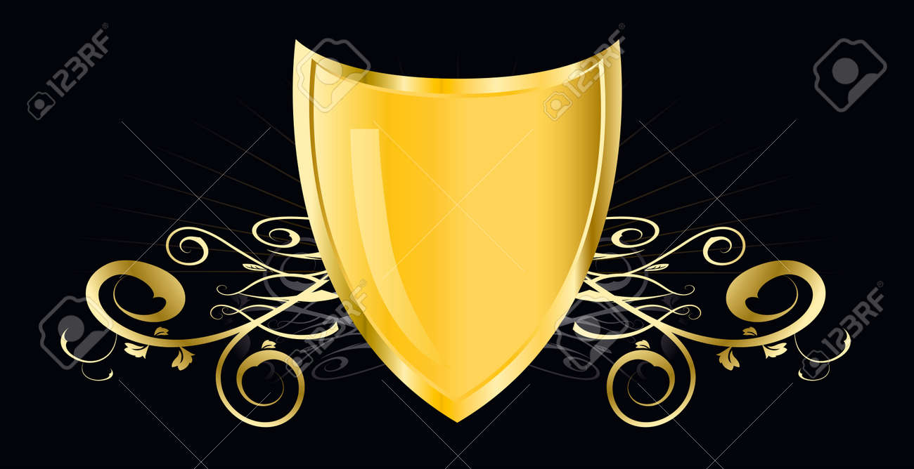 golden shield - This image is a vector illustration and can be scaled to any size without loss of resolution - 4820029