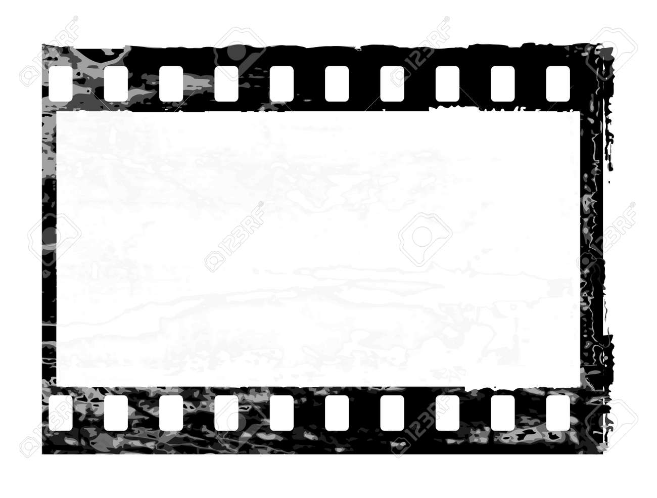 Aged Vector Illustration Of A Grunge Filmstrip Frame. Royalty Free ...