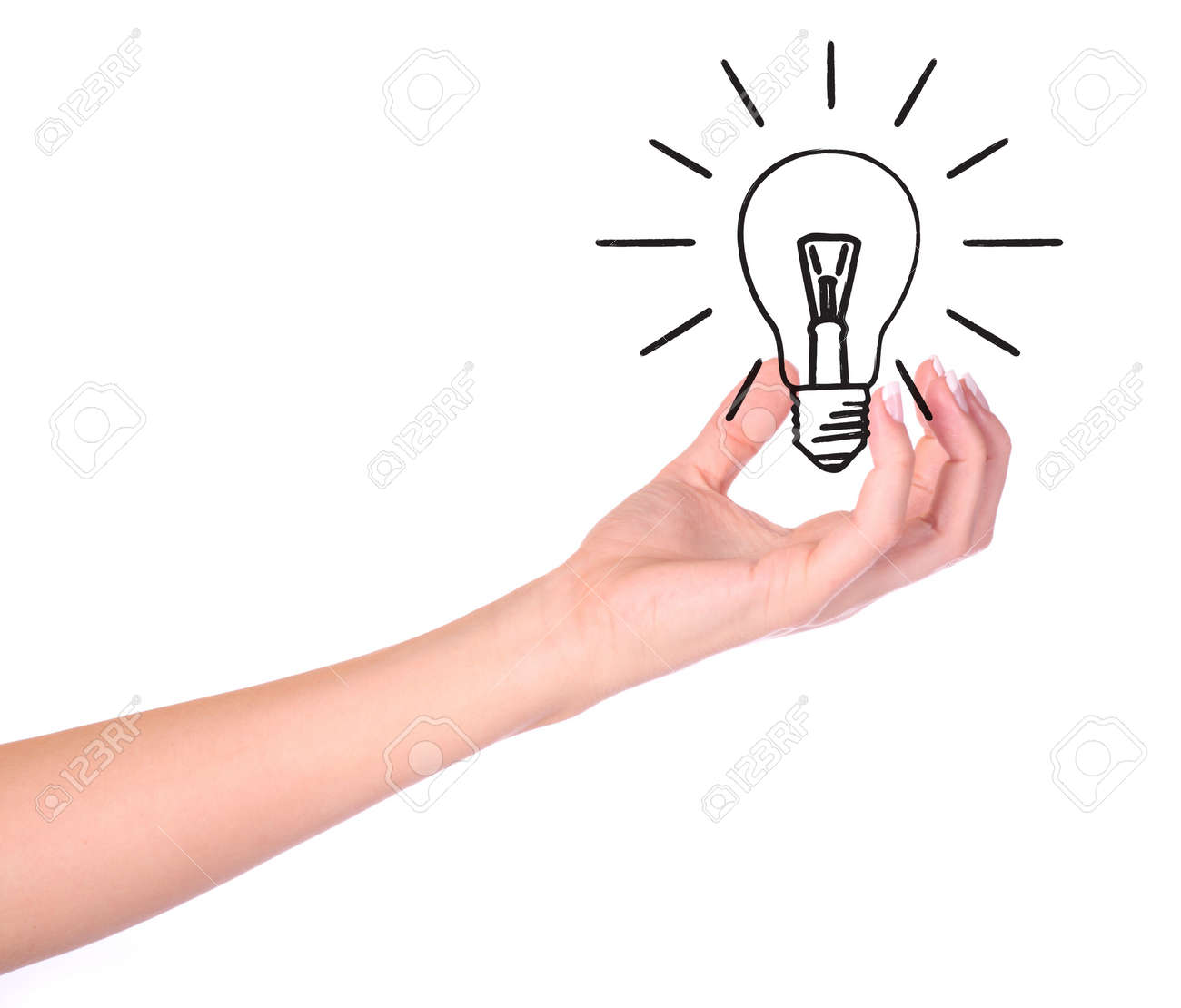 Hand holding drawn light bulb - Ecology/Environment concept - 5542072