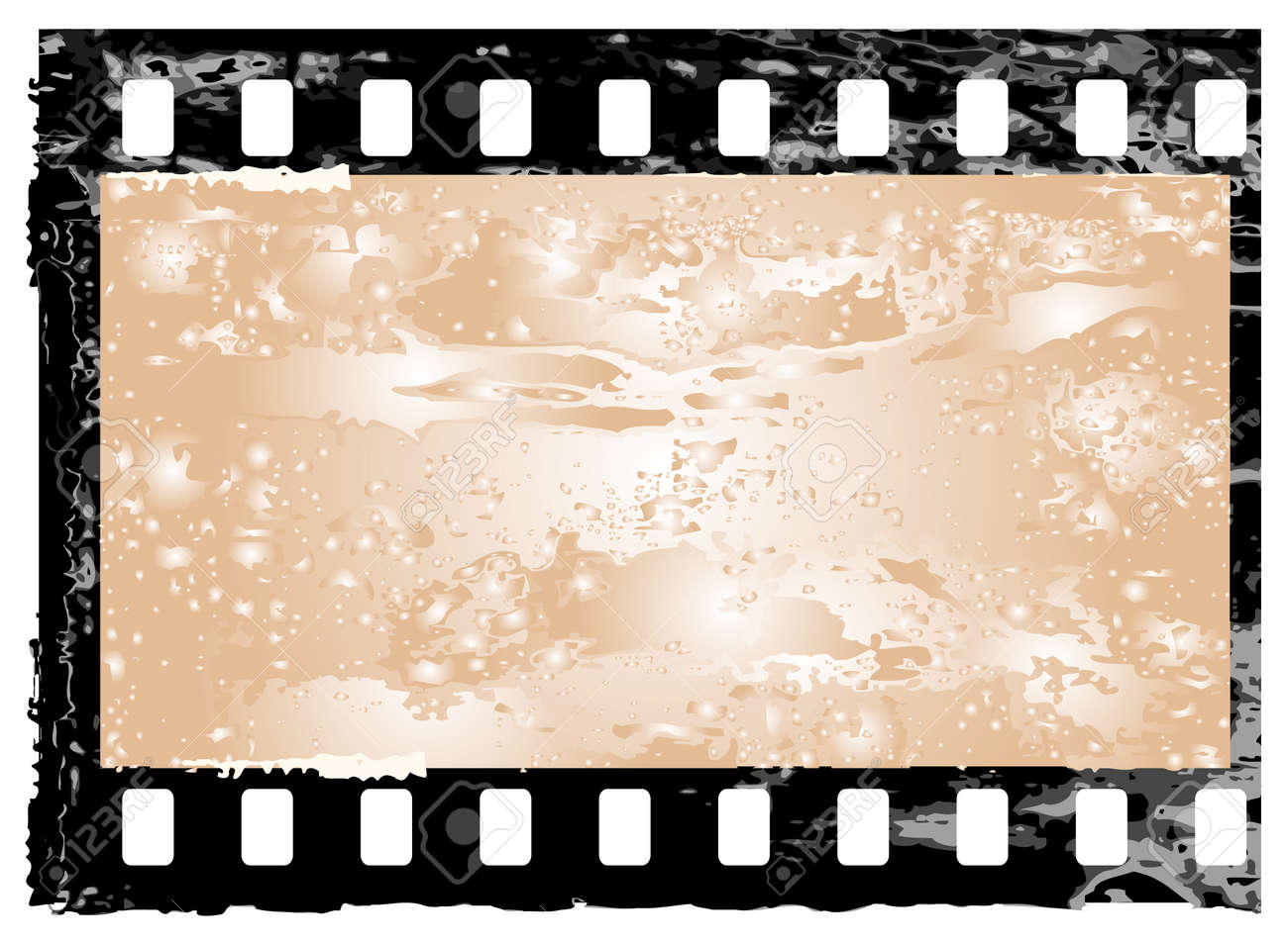 Aged Vector Illustration Of A Grunge Filmstrip Frame. Royalty Free ...