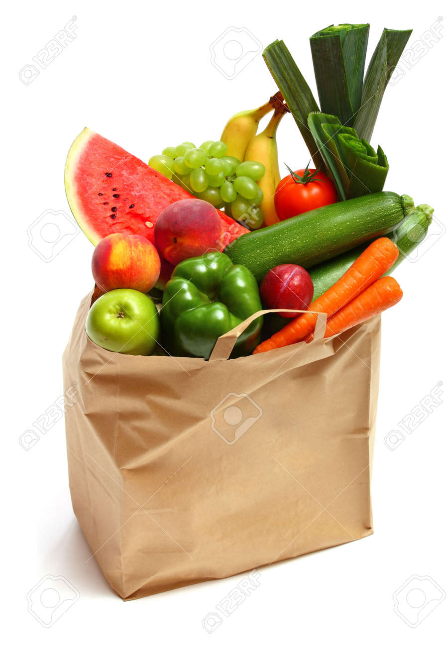A grocery bag full of healthy fruits and vegetables Stock Photo - 5754400