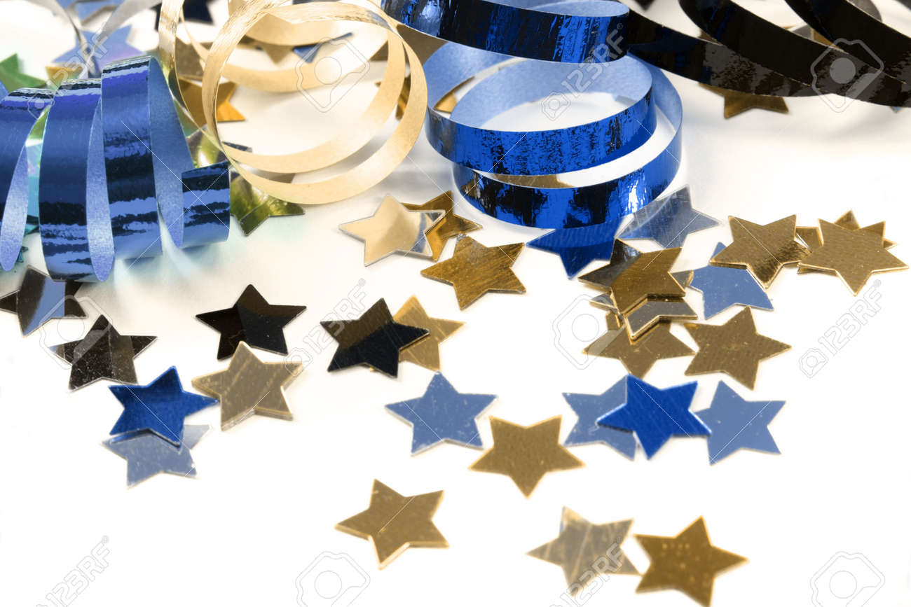 Stars in the form of confetti with streamers on white - 5890359