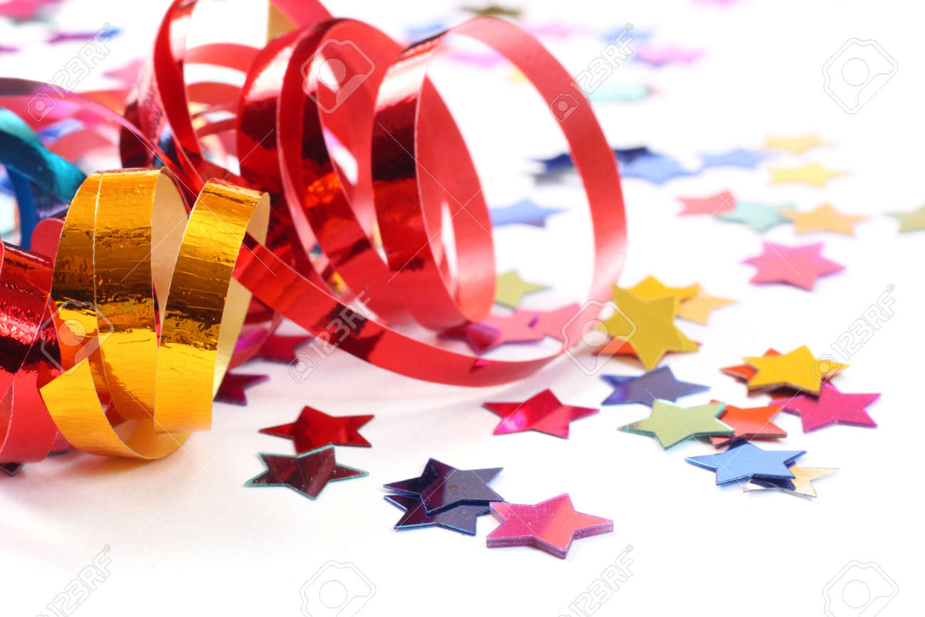 Stars in the form of confetti with streamers on white - 7934824