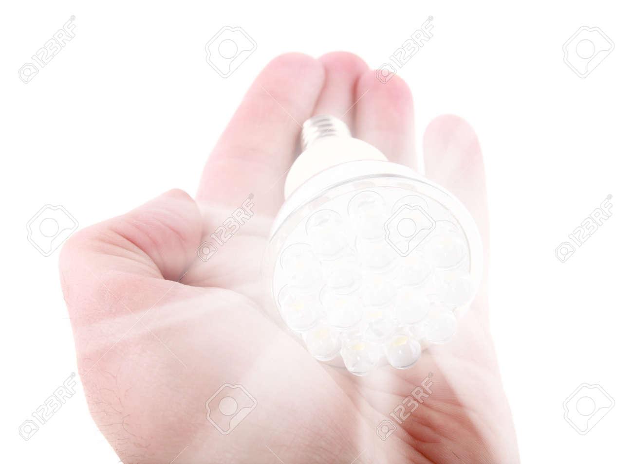 Led light bulb in hand on white background - 11917162
