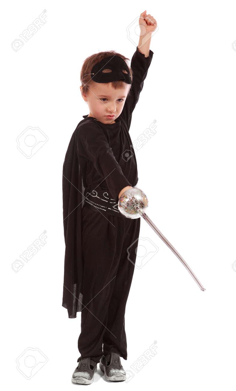 Young boy dressed in Zorro halloween costume - 11917119