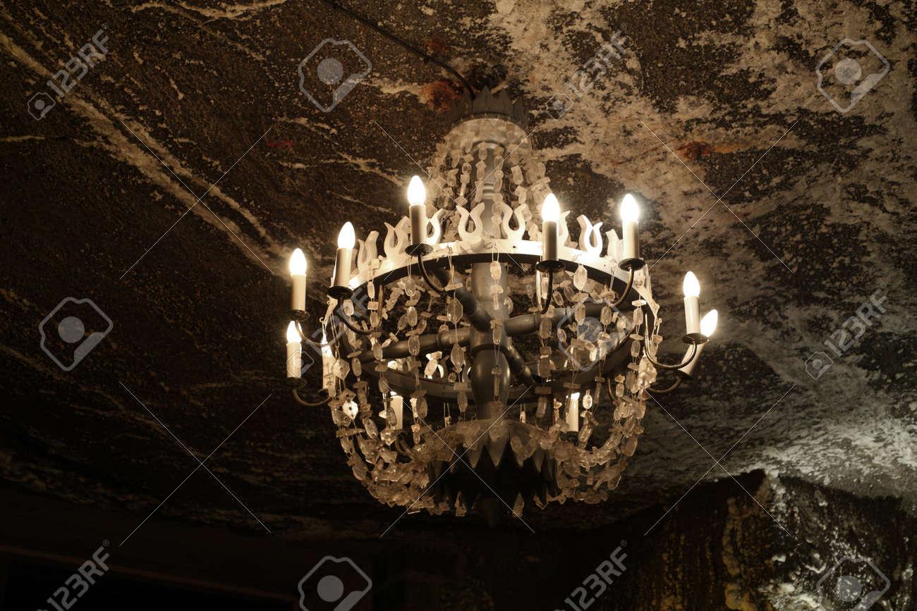 Salt chandelier in Wieliczka salt mine. Poland - 11917207