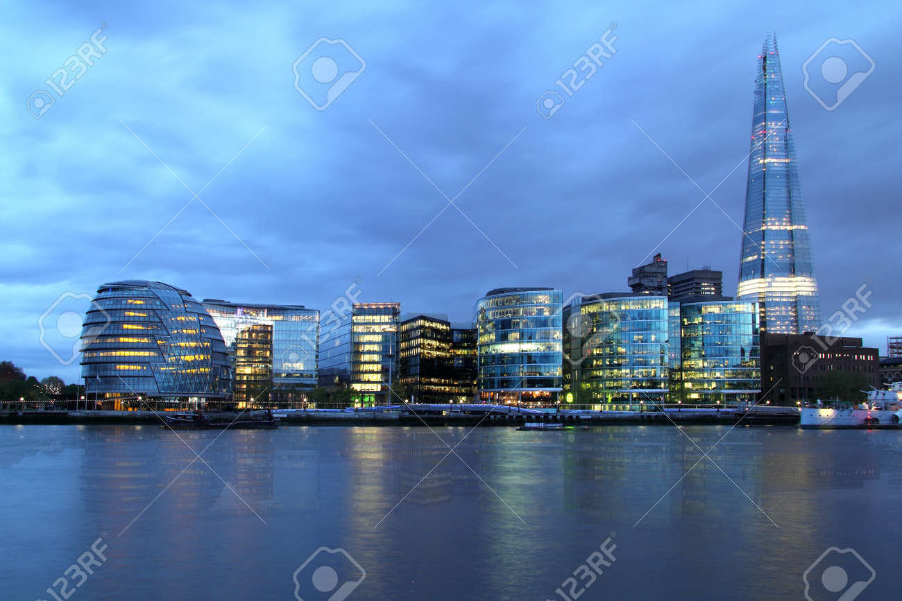 New London city hall at night , panoramic view from river - 15839009