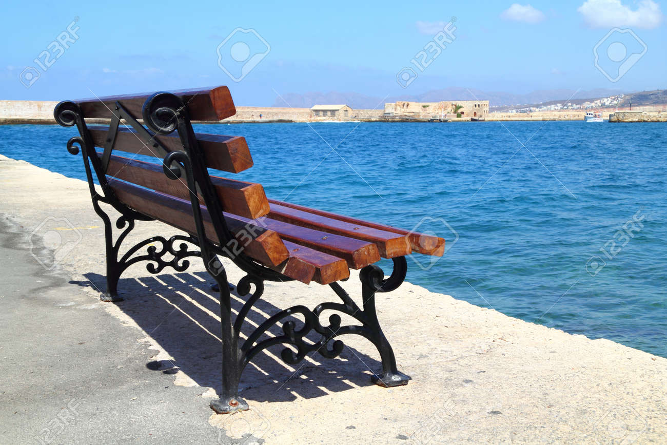 Bench at Old Harbor in Chania, Greece - 15845206