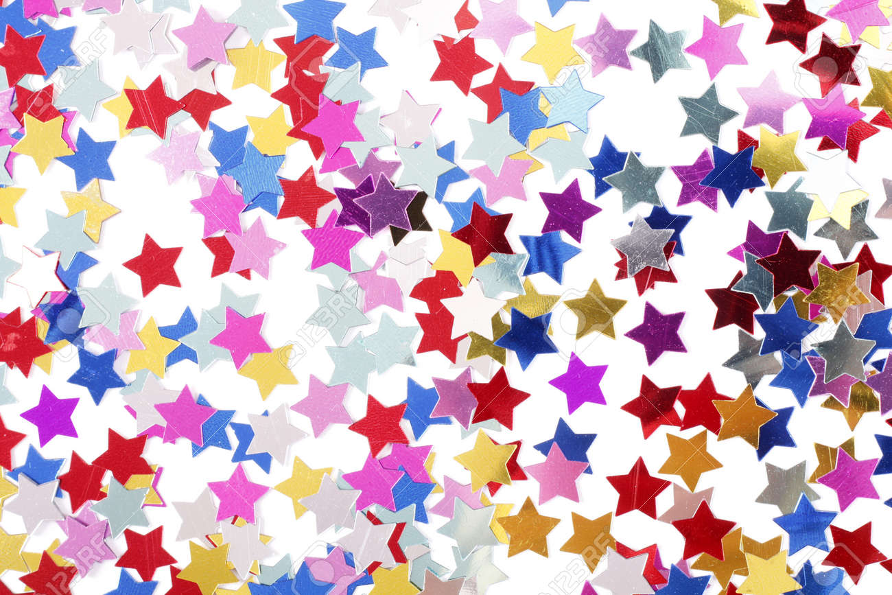 Stars in the form of confetti on white - 15979692
