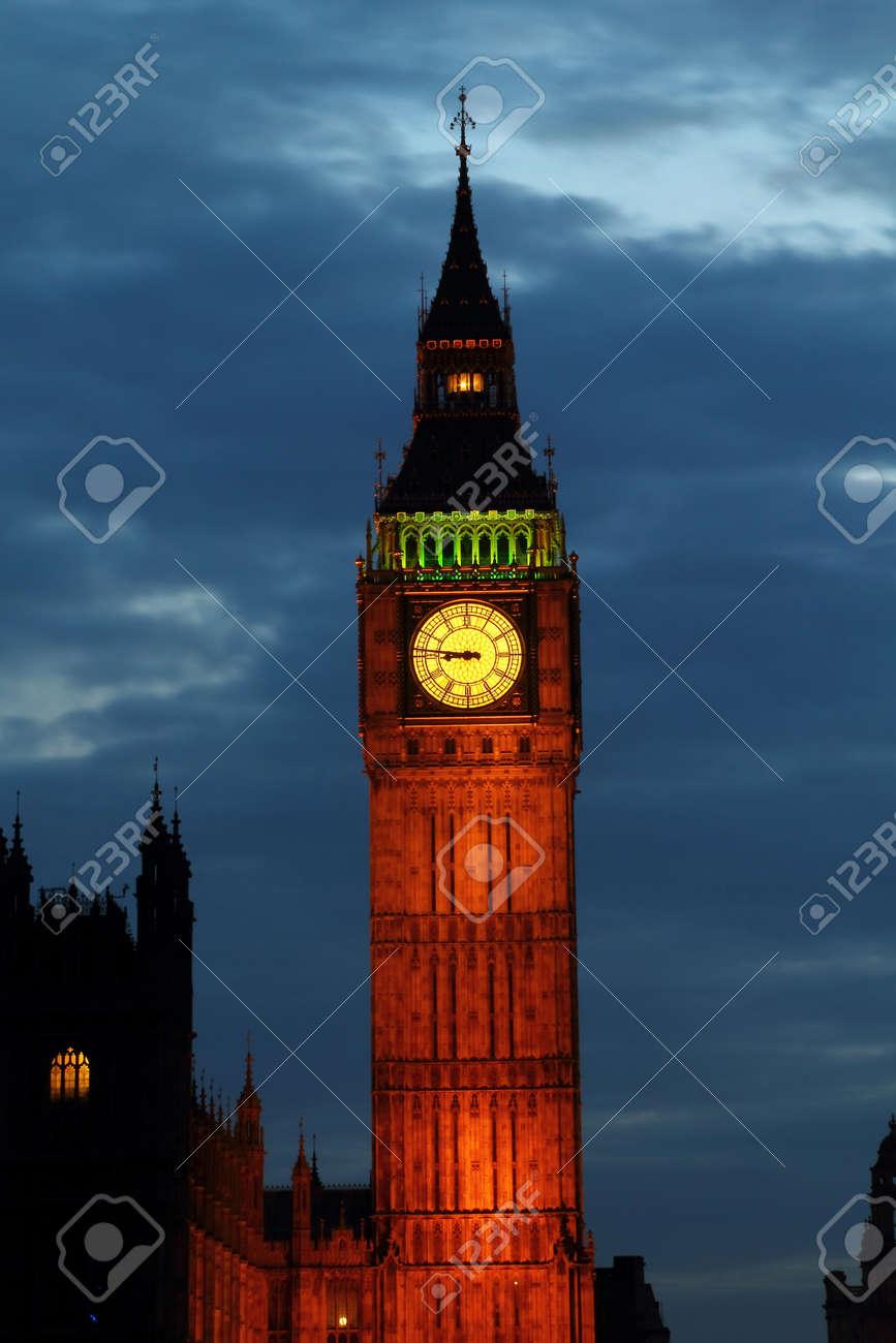 Lights of Big Ben at Dusk - London - UK - 15979701