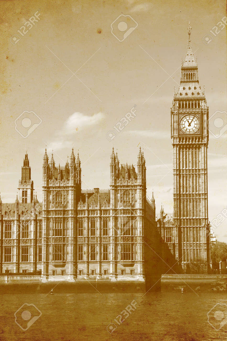 Buildings of Parliament with Big Ben tower in London UK - vintage paper textures. - 15979732